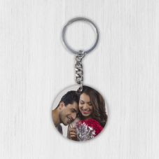 Customized Round Wooden Photo Keychain