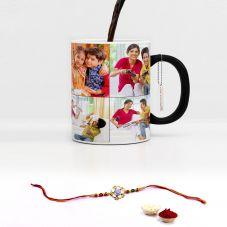 GiftsOnn Raksha Bandhan Printed  Black Magic Mug With Rakhi