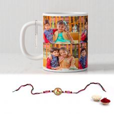 Rakhi Combo for Raksha Bandhan Printed White Mug with rakhi