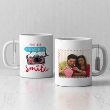 You are a reason to smile Quote with Personalized White Mug( 3.7x3.2in, 320ml)