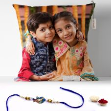 Rakhi Combo for Raksha Bandhan Printed 12x12 Cushion with rakhi