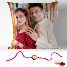 GiftsOnn Raksha Bandhan Printed  12x12 Cushion with rakhi