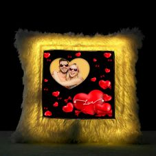 Square Shaped Personalized LED Fur Cushion