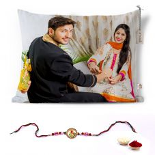 GiftsOnn Rakhi with 1 Photo Printed 12x15 Cushion