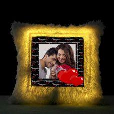 I love u Square Shaped Personalized LED Fur Cushion
