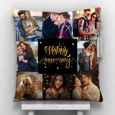GiftsOnn Happy Anniversary Text with 8 Photos Pillow 12x12