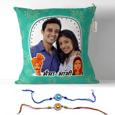 Photo Pillow for भैया-भाभी with 2 rakhi