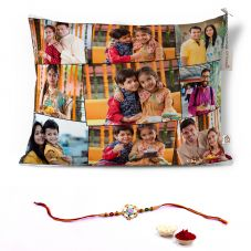 GiftsOnn Rakhi Combo with 9 Photos Printed 12x15 Cushion