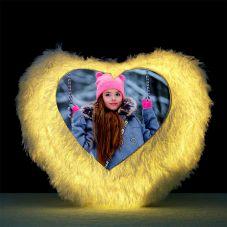 Heart Shaped Personalized LED Fur Cushion