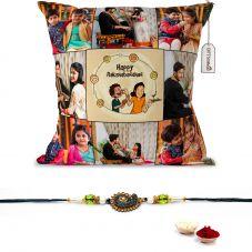 Haapy Raksha Bandhan text with 8 photos printed pillow