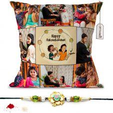 Haapy Raksha Bandhan text with 8 photos printed pillow with rakhi
