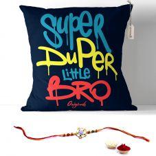 Super Duper Little Bro Cushion with Filler 12x12. Raksha bandhan Gifts