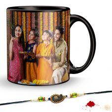 GiftsOnn Black Patch Printed Mug, 320ml, Set of 1 with rakhi