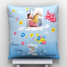 GiftsOnn Add Text with photo Personalized Satin Cushion - White