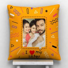 I Love My Sister Quote With 1 Photo Personalized Pillow