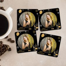 Happy Anniversary Personalized Your 4 Photos Square Coasters