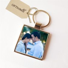 Personalized Metal Square Key Chain - Double Sided