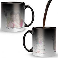happy valentine's day with 1 photo printed Black Magic Mug