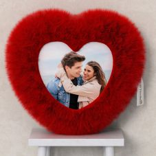 HEART CUSHION WITH PERSONALIZED PHOTO AT ONE SIDE