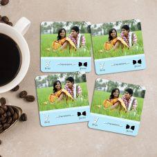 Congratulations Bride & Groom Personalized Square 4 Coasters