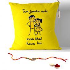 Tu Jaante nahi Mera Bhai Kon hai.. Quote Printed on Cushion - 12*12