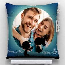 Marry Me Printed Personalized Pillow  (12x12, White)