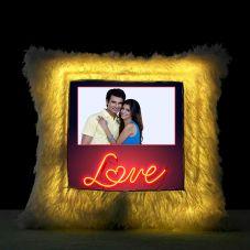 Love Square Shaped Personalized LED Fur Cushion