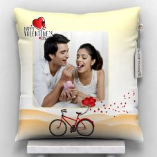 happy valentine's day Printed Cushion With Cover  (12x12, White)