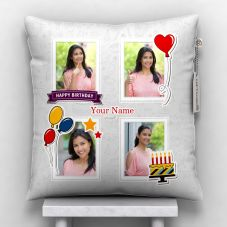 Giftsonn Personalized 4 Photos with text Satin Pillow/Cushion