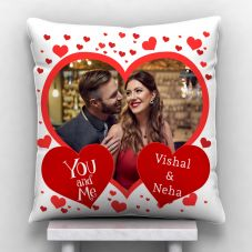 GiftsOnn Heart photo with Couple Name Personalized Satin Cushion - White