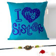 I Love My Sister Cushion with Filler 12x12. Raksha bandhan Gifts