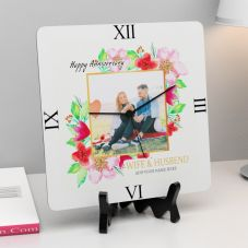 Personalized Happy Anniversary With Name Square Clock