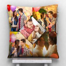 Giftsonn Personalized 5 Photos Satin Pillow/Cushion- White