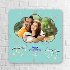 Happy Anniversary Personalized Square Clock With Name