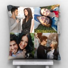 GiftsOnn 4 Photos Personalized Cushion White-12*12