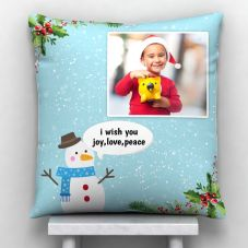 Merry Christmas Photo Satin Pillow/Cushion- White, 12*12