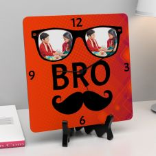 Bro Text with 2 Personalized photos Square Clock