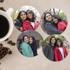 Lovely Round Personalized Wooden Coasters