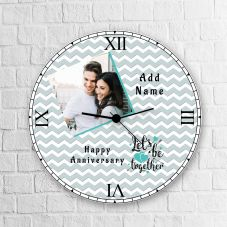 Let's Be Together Happy Anniversary Round Clock