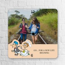 GO….For A New Life Begning Quote Square Clock
