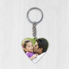 Heart Wooden Photo Keychain