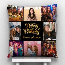 Happy Birthday with name and 8 photos black pillow 12x12