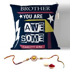 Brother You Are Awesome Cushion with Filler 12x12. Rakhi Gifts for Brother, Rakshabandhan Gifts