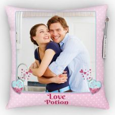 Love Potion with 1 pic Printed Cushion With Cover - 12x12 inch
