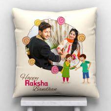 Happy Raksha Bandhan Personalized Photo Satin Pillow/Cushion- White, 12*12
