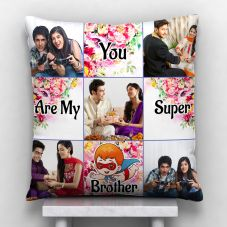 You Are My Super Brother Quote With 5 photos Personalized Pillow
