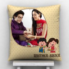 Brother Sister White 12*12 inch Personalized Photo Pillow