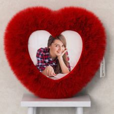 Personalized Heart Shaped Red Fur Cushion/pillow