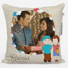 Raksha Bandhan Personalized Magic sequin Pillow- White, 12*12