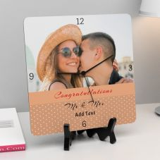 Congratulations Mr and Mrs With text Square Personalized Clock